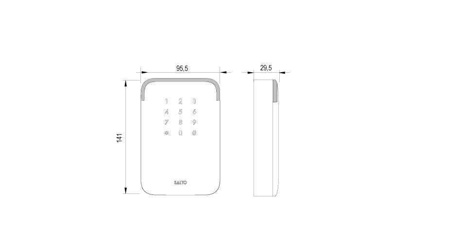 Design XS ANSI WR Keypad Technical Drawing