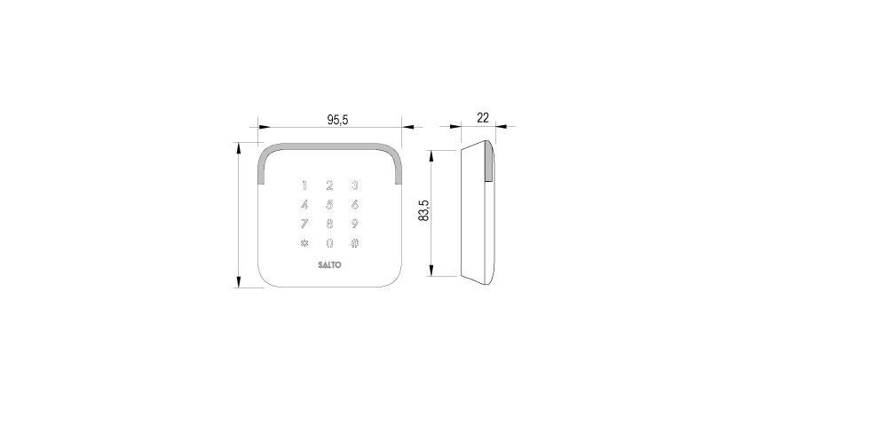 Design XS EURO WR Keypad Technical Drawing