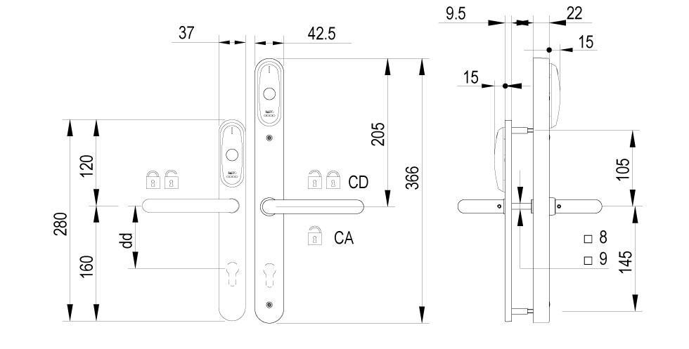 XS4 Original Double Reader - Technical Drawing