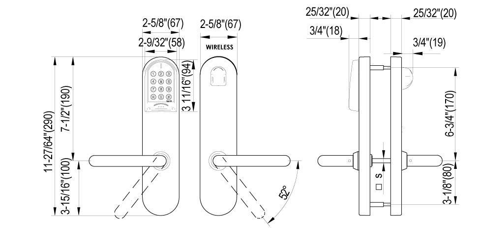 XS4 Original Keypad ANSI Technical Drawing