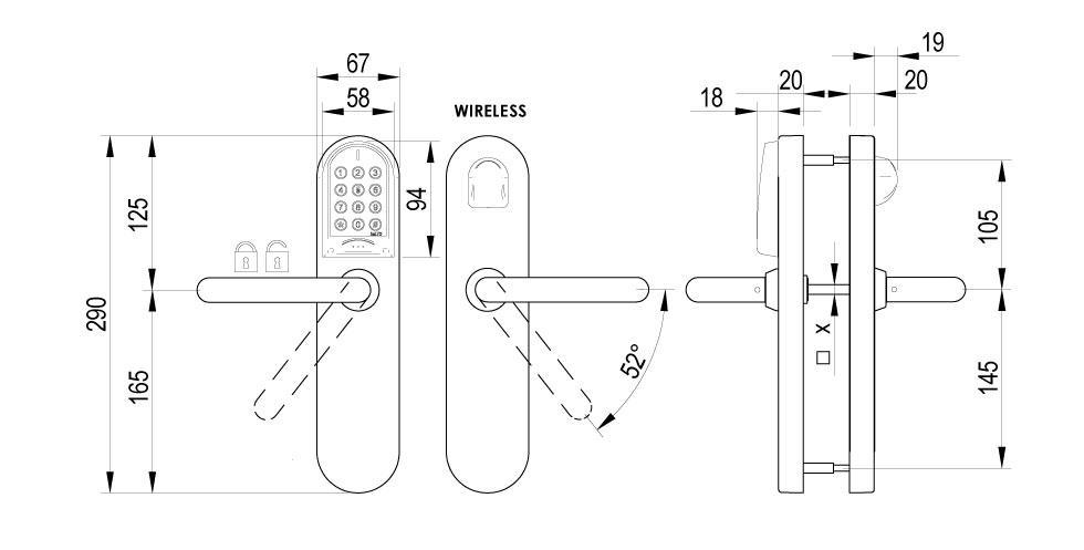 XS4 Original Keypad - EU Technical Drawing